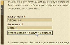 Вводите тут имя и свой e-mail